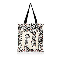 Beige leopard print shopper