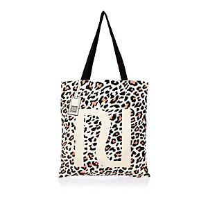 Beige leopard print shopper bag