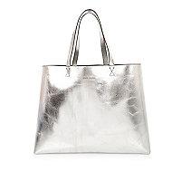 Silver reversible beach shopper