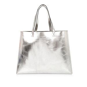 Silver shiny reversible beach bag