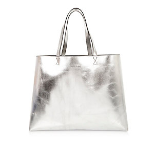 Silver shiny reversible beach bag