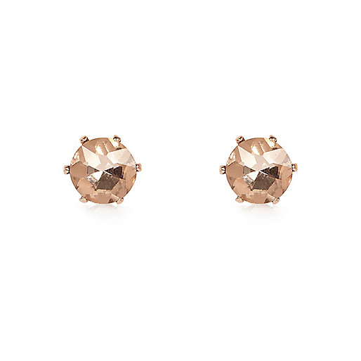 Rose gold tone sparkly gem stud earrings