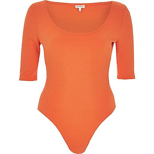 Coral ribbed scoop neck bodysuit