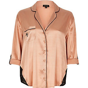 Pink satin lace panel pyjama shirt