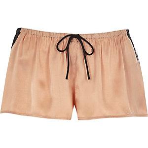 Pink satin pyjama shorts