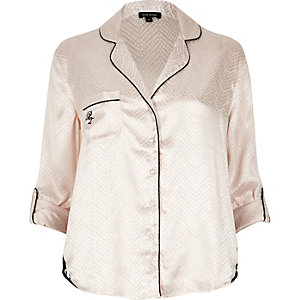 Cream lace detail pajama shirt