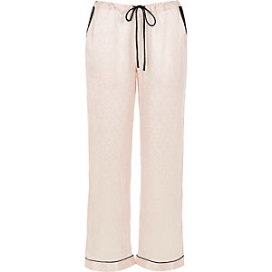 Cream lace trim pajama pants