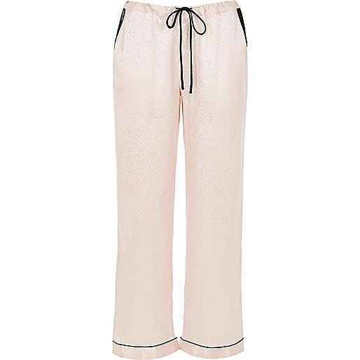 Pantalon de pyjama crème à bordure en dentelle