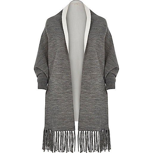 Grey knit double-sided cape
