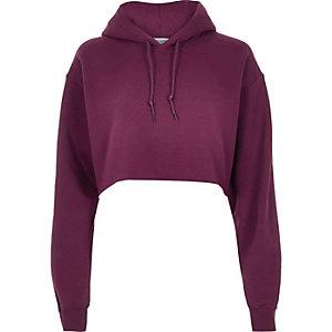 Purple cropped hoodie