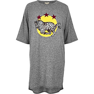 Grey marl leopard print oversized T-shirt