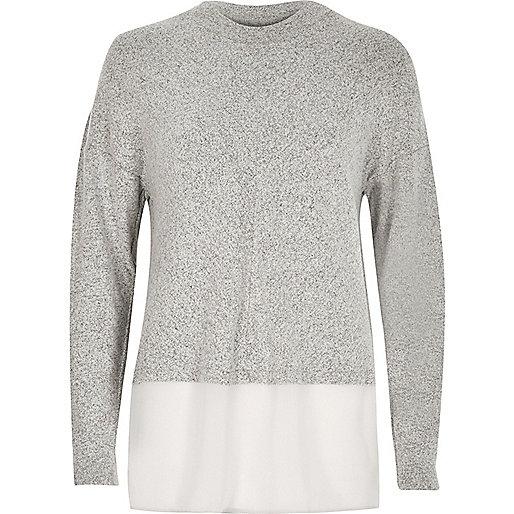 Grey layered turtleneck top