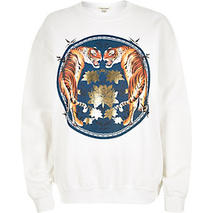 White tiger foil print sweatshirt