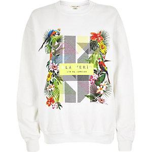 White tropical print sweatshirt