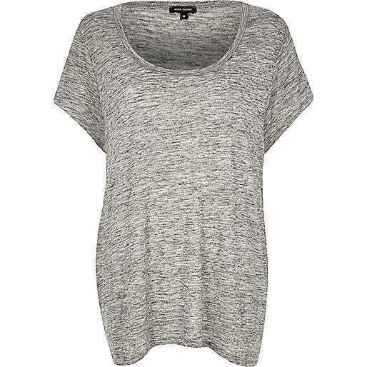 T-shirt RI Plus gris à encolure dégagée