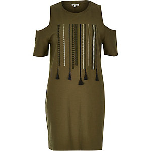 Khaki print cold shoulder dress