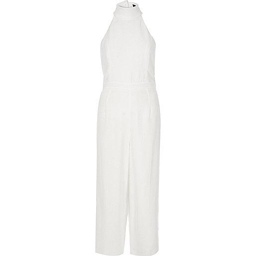 White high neck jumpsuit