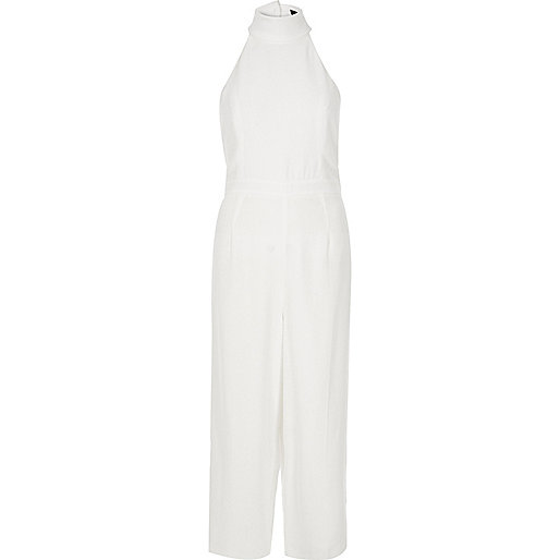 White high neck jumpsuit