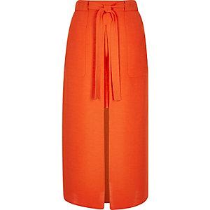 Orange utility midi skirt