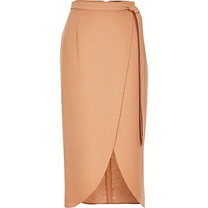 Beige wrap midi skirt