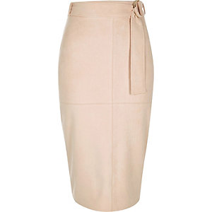 Light pink faux suede belted pencil skirt