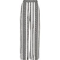 White stripe print straight leg trousers