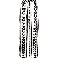 White stripe print straight leg pants