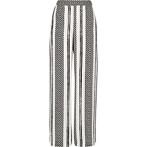 White stripe print straight leg trousers
