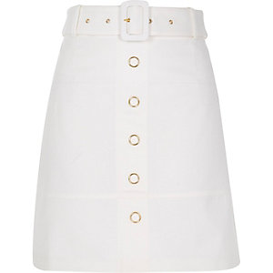 White belted A-line skirt
