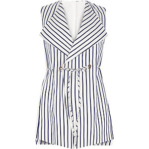 RI Plus navy stripe sleeveless jacket
