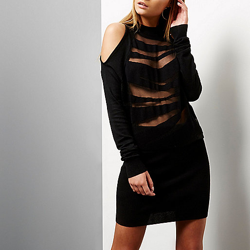 Black zebra jacquard cold shoulder dress