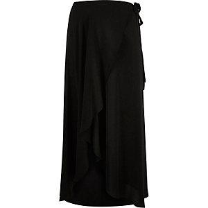 RI Plus black wrap maxi skirt