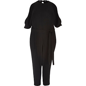 RI Plus black cold shoulder jumpsuit