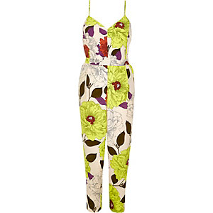 Yellow floral print jumpsuit