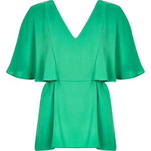 Green cape back V-neck t-shirt