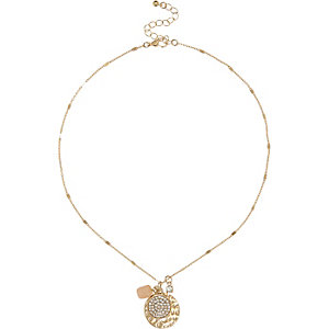 Gold tone clustered necklace