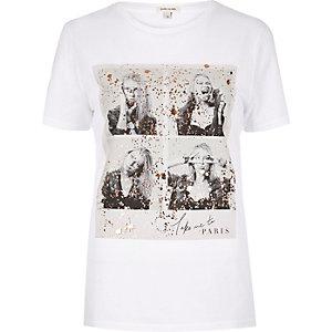 White foil print t-shirt