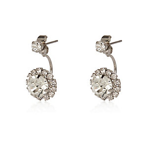Silver tone diamanté drop earrings