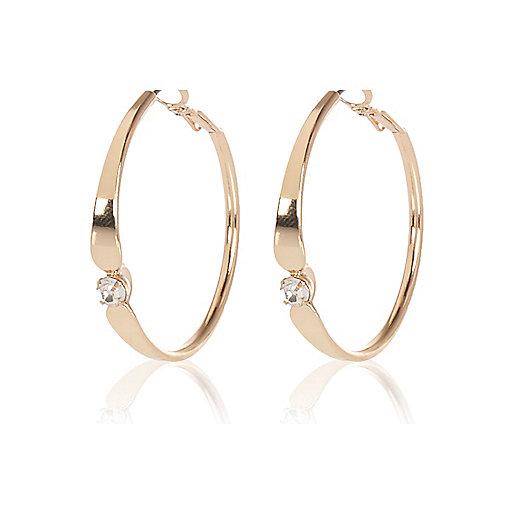 Gold tone gem encrusted hoop earrings