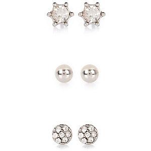 Silver tone gem encrusted stud earrings pack