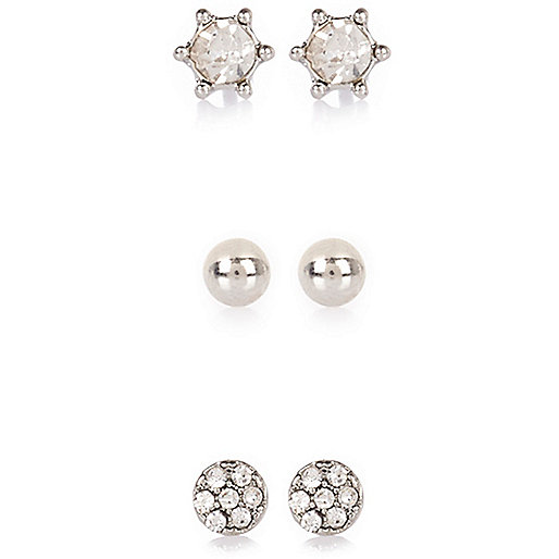 Silver tone gem encrusted stud earrings pack