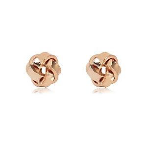 Rose gold tone knot stud earrings