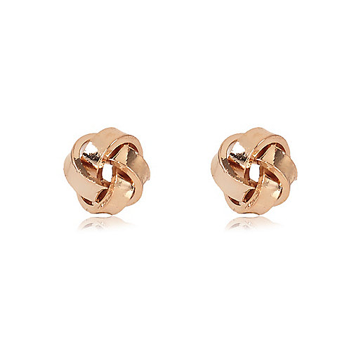 Rose gold tone knot stud earrings