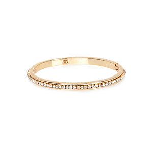 Gold tone gem encrusted bangle