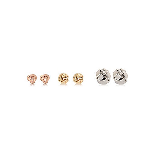 Gold, rose gold and silver tone earrings pack