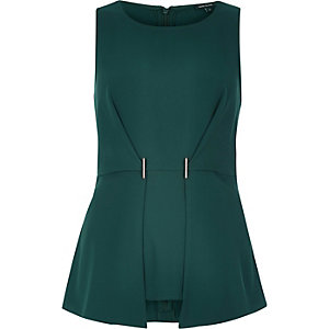 Dark green gold trim peplum top