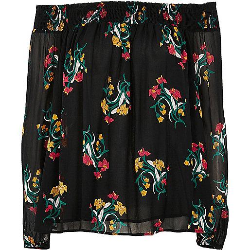 Black floral print bardot top