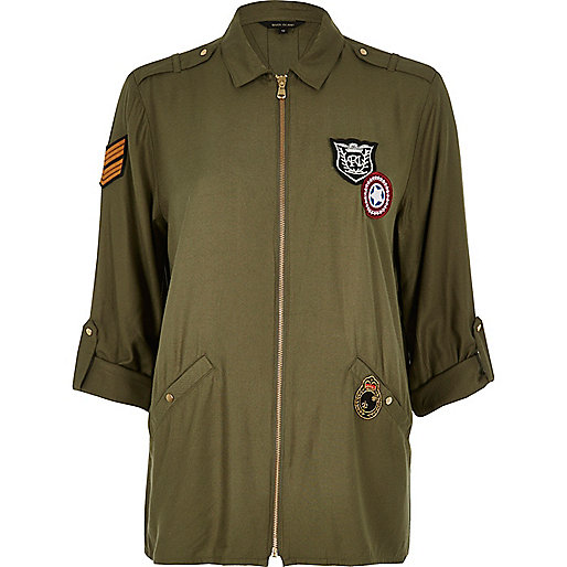 Khaki badge appliqué zip shirt