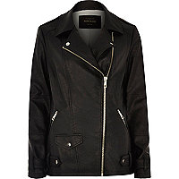 Black long sleeve aviator jacket