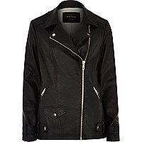 Black long sleeve aviator jacket